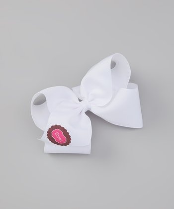 White & Pink Scalloped Personalized Bow Clip