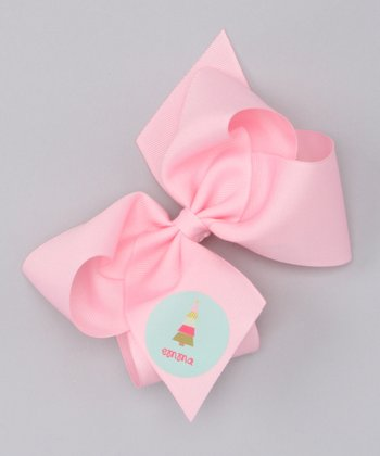 Pink Patchwork Tree Large Personalized Bow Clip