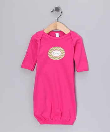 Hot Pink & Green Zigzag Personalized Gown - Infant
