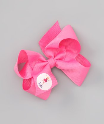 Hot Pink Ballerina Personalized Bow Clip