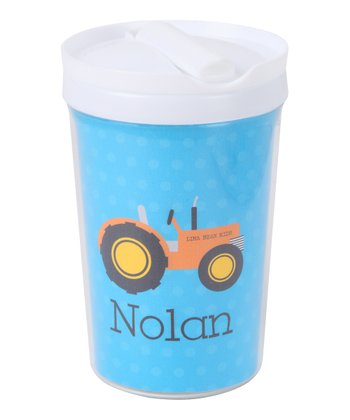 Blue & Orange Tractor Personalized Toddler Cup