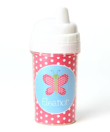 Hot Pink Butterfly Personalized Sippy Cup