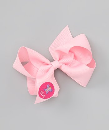 Pink Butterfly Personalized Bow Clip