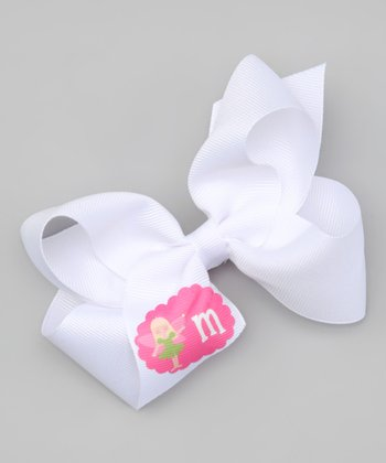 White Blonde Fairy Initial Bow Clip