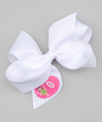 White Brown-Haired Fairy Initial Bow Clip