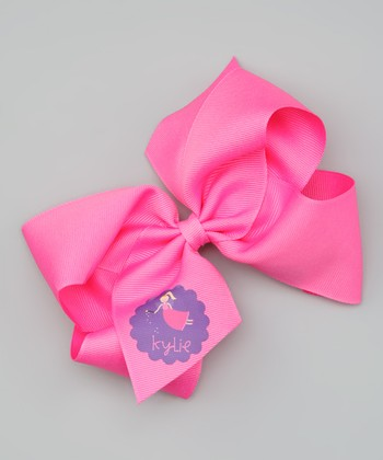 Hot Pink Blonde Fairy Personalized Bow Clip