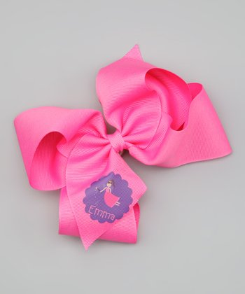 Hot Pink Brown-Haired Fairy Personalized Bow Clip