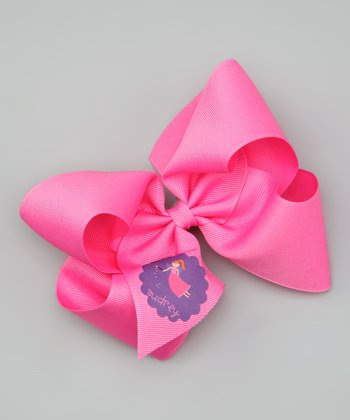 Hot Pink Red-Haired Fairy Personalized Bow Clip