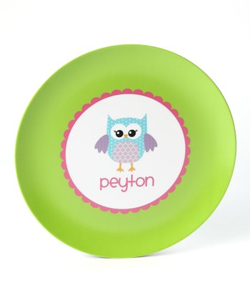 Green Owl Personalized Plate