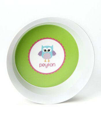 Green Owl Personalized Bowl