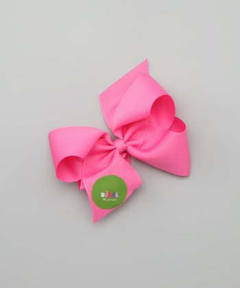 Hot Pink Bunny Lineup Personalized Large Bow Clip