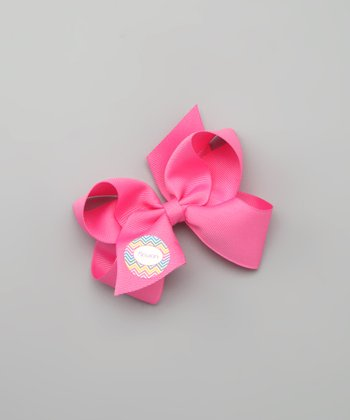 Lima Bean Kids Hot Pink Chevron Personalized Small Bow Clip