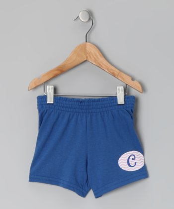 Royal Blue Initial Shorts - Girls