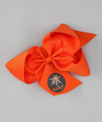 Orange Spider Web Personalized Bow Clip