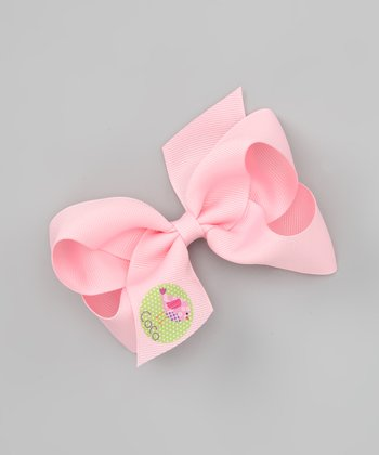 Pink Patchwork Bird Personalized Bow Clip