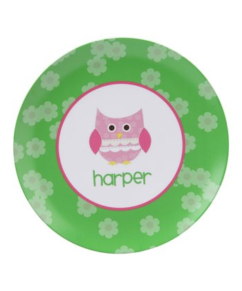 Patchwork Owl Personalized Plate