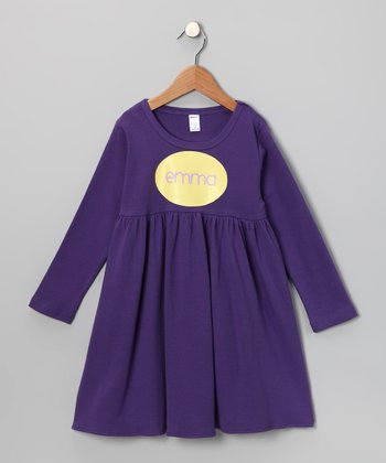 Purple & Yellow Personalized Dress - Toddler & Girls