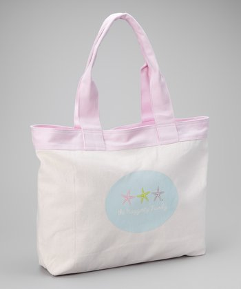 Light Pink Starfish Personalized Beach Tote