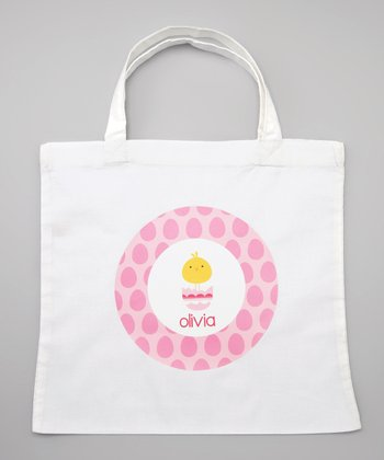 White & Pink Chick in Egg Personalized Tote