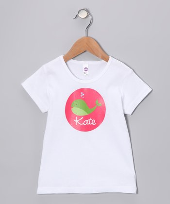 White & Pink Whale Personalized Tee - Kids