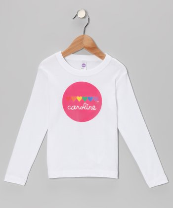White Rainbow Heart Personalized Tee - Toddler & Girls