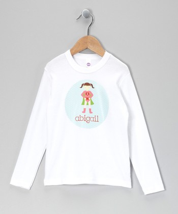 White Brown-Haired Super Girl Personalized Tee - Infant, Toddler & Girls