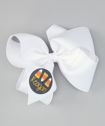 White Candy Corn Personalized Bow Clip