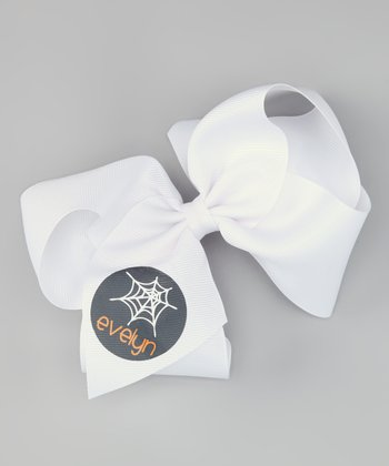White Spider Web Personalized Bow Clip