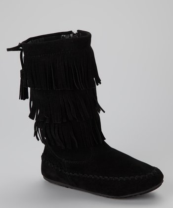 Black Katherine Fringe Boot