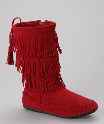 Red Katherine Fringe Boot