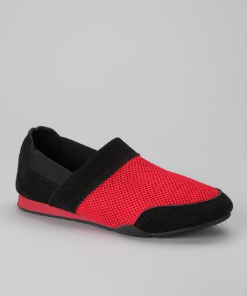 Black & Red Sandy Slip-On Sneaker
