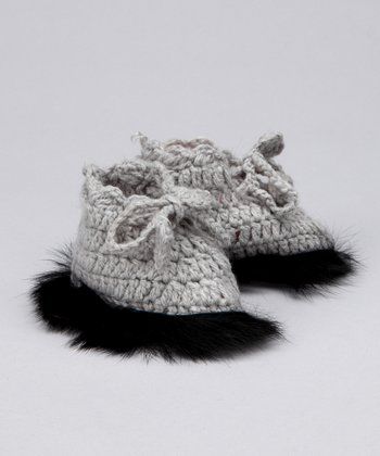 Gray Fur Trim Booties