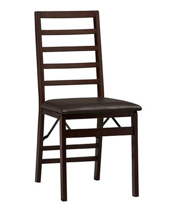 Espresso Treina Ladder Back Folding Chair - Set of Two