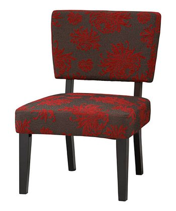 Gray & Red Flower Taylor Accent Chair