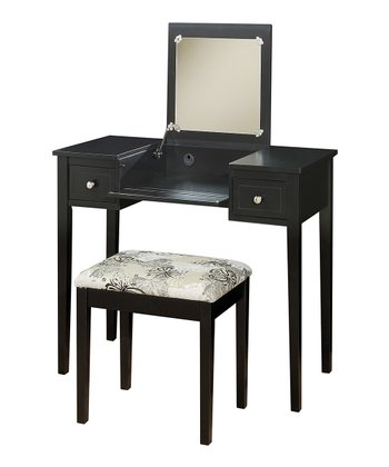 Black Butterfly Vanity & Stool