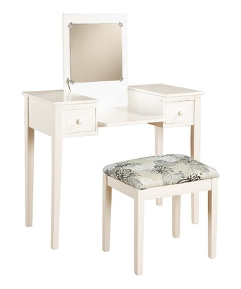 White Butterfly Vanity & Stool