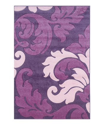 Purple & Baby Pink Damask Corfu Rug