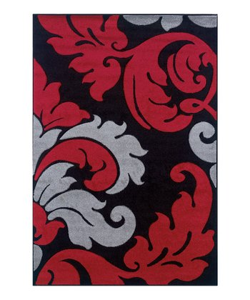 Black & Red Damask Corfu Rug