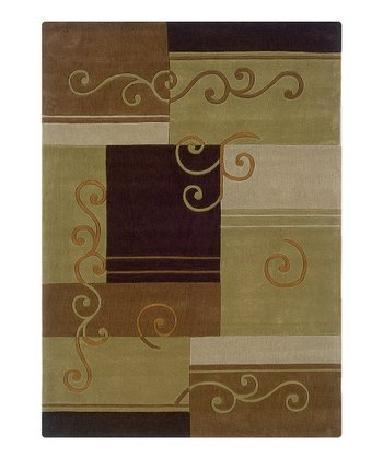 Brown & Green Scroll Trio Rug