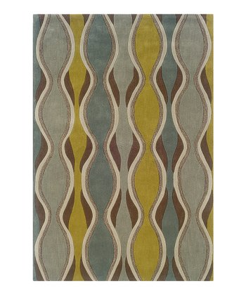 Chocolate & Spa Blue Curve Trio Rug