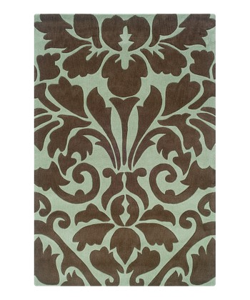 Chocolate & Spa Blue Damask Trio Rug