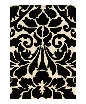 Black Damask Trio Rug