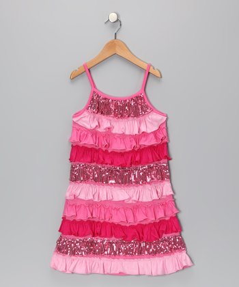 Pink Rain of Colors Tiered Ruffle Dress - Toddler & Girls