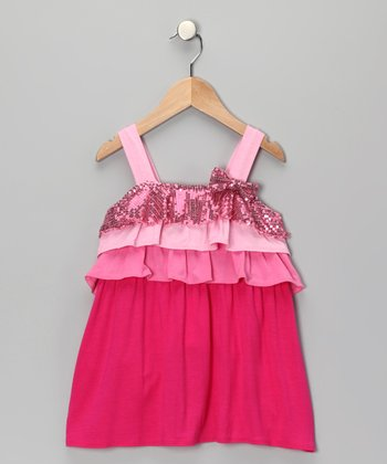 Rain of Colors Ruffle Sequin Dress - Toddler & Girls