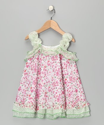 April Flower Rosette Ruffle Top - Girls