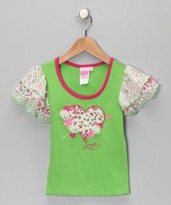 Green April Flower Heart Tee - Toddler & Girls
