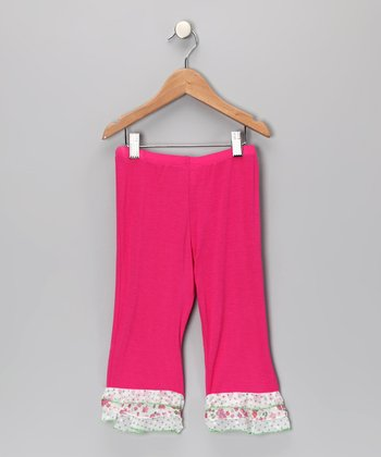 Baby Pink April Flower Ruffle Pants - Toddler