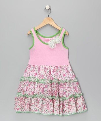 Baby Pink April Flower Ruffle Dress - Infant