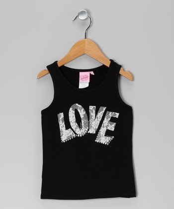 Black 'Love' Lace Tank - Girls