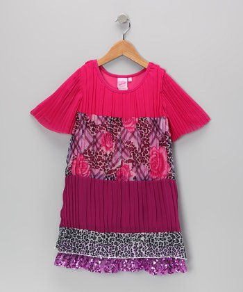 Pink Accordion Pleat Dress - Toddler & Girls